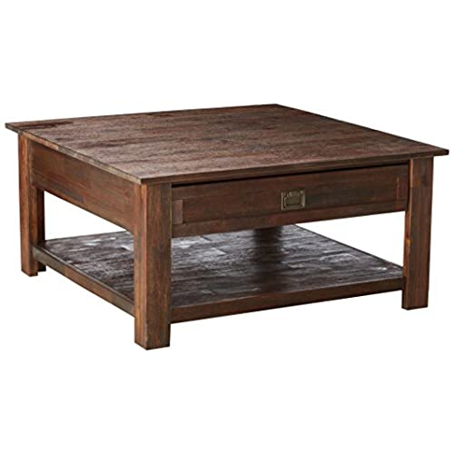 Simpli Home Monroe Solid Acacia Wood Square Coffee Table, Distressed  Charcoal Brown