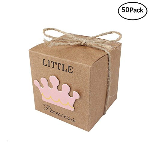 iMagitek 50 Pcs Baby Shower Favor Boxes + 50 Pcs Twine Bow for Little Princess, Candy Box Gift Bag for Baby Shower, Baby Girls Birthday Party