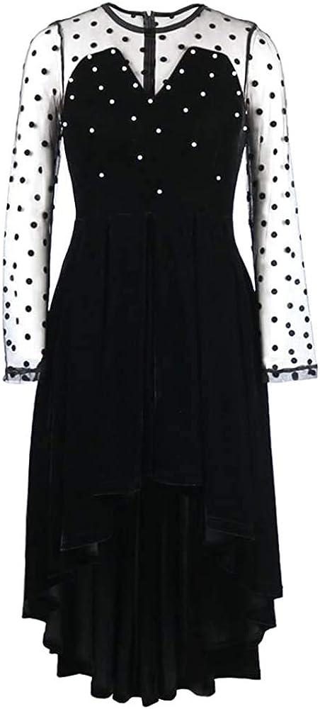 nuoshang Vestido de mujer de malla de terciopelo negro de manga larga de retazos con cuentas de alta y baja línea