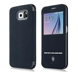 Baseus Ultra Thin Funda Carcasa Slip Smart Touch Terse PU Leather Window View Case Folio Flip Cover Ver funciones de apoyo succión Diseño magnético para Samsung Galaxy S6 - Azul Oscuro