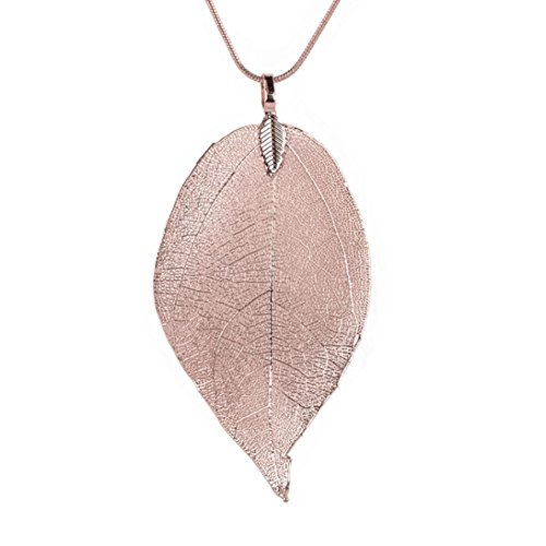 Ceramic Women Pendant - Women Leaf Pendant Necklace Daoroka Bohemian Pure Natural Leaf Charm Pendant Long Chain Necklace (Rose Gold)