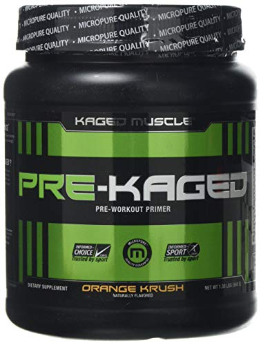 KAGED MUSCLE, PRE-KAGED Pre Workout Powder, Orange Krush, L-Citrulline + Creatine HCl, Boost Energy, Focus, Workout Intensity, Pre-Workout, Orange Krush, 588 Grams