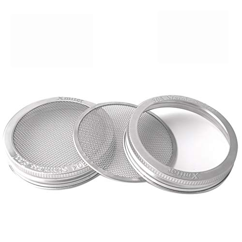 Stainless Steel Sprouting Lids for Wide Mouth Mason Jars - Strainer Lid for Canning Jars and Seed Sprouting Screen