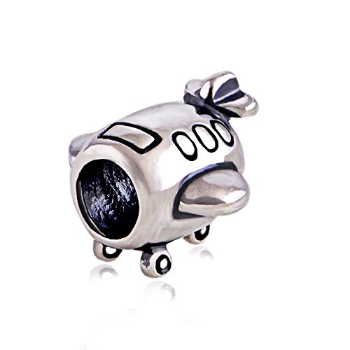 Everbling Airplane 925 Sterling Silver Bead for Pandora Charm Bracelet