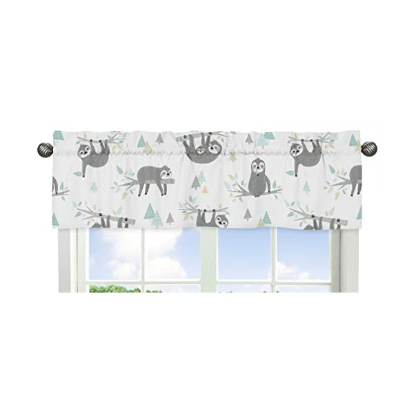 Sweet Jojo Designs Blue and Grey Jungle Sloth Leaf Window Treatment Valance – Turquoise, Gray and Green Botanical Rainforest