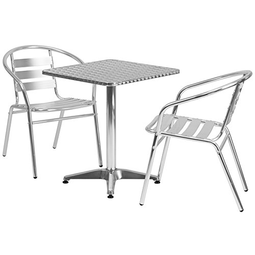 '' Square Aluminum Indoor-Outdoor Table Set with 2 Slat Back Chairs ()