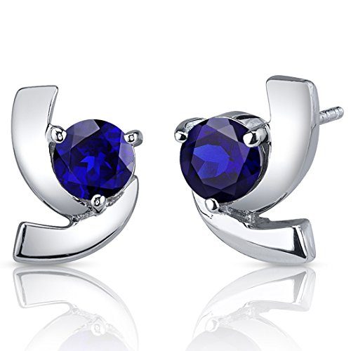 Created Blue Sapphire Earrings Sterling Silver Round Cut 2.50 Carats