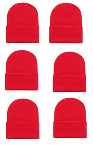 OPT Brand. Wholesale 6 Pieces Unisex Knit Long Cuff Ski Plain Beanie Cap Solid Color Beany - Wholesale Ski