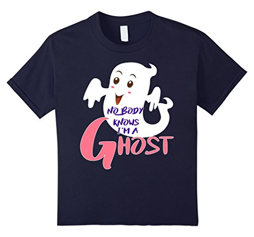 Kids No Body Know I'm A Ghost - Halloween Costume T-Shirt Ghost 12 Navy - Mom N Son Halloween Costumes