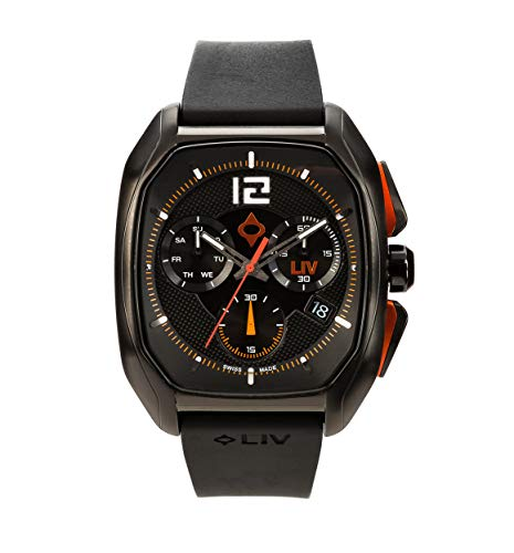 LIV Rebel-DDC Swiss Made Analog Display Day Date Chronograph Casual Rectangular Watch for Men; Stainless Steel with Date Calendar; 300 feet Waterproof - Limited Production - Classic Black