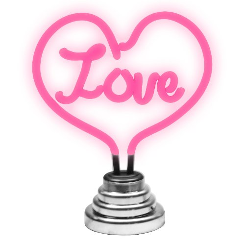 Love Heart Shape Neon Table Lamp, Pink And Chrome, Height 24.5cm