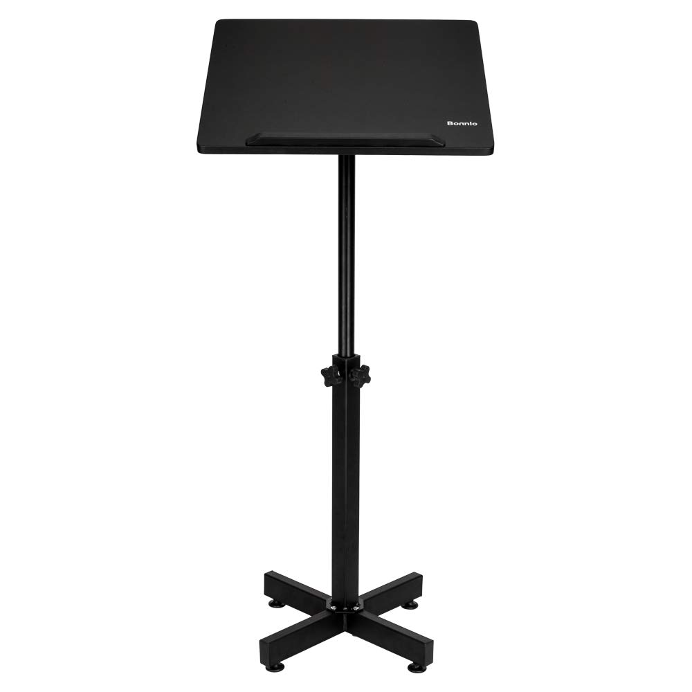 Bonnlo Classic Lectern Stand, Height Adjustable Mobile Podium, Multi-Purpose Tabletop for Speech, Lecture, Church, Reading or Laptop Desk with Edge Stopper, Black