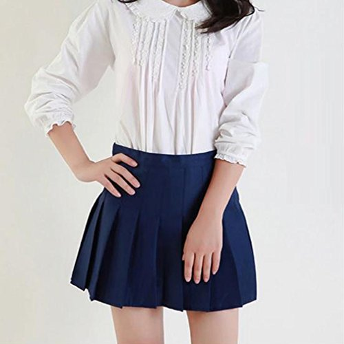 Uniformes Taille Preppy Bleu Vintage Jupes Doux Filles Plisse Femmes School Jupe fonc Haute hibote Mini Jupe Style II0qOPFw