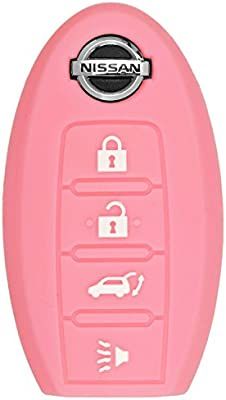 qualitykeylessplus Pink Rubber Case Silicone Protective Cover for Nissan 4 Button Remotes with Free KEYTAG