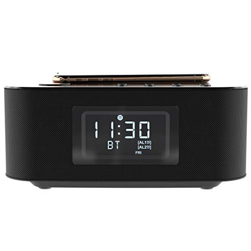 S8 Xs 30W Speakers Xr USB Fast-Charging 8 8 plus AZATOM Homehub Clock Radio Alarm with Qi Wireless charging and Bluetooth for iPhone Xs Max S7 X S7 Edge Samsung Galaxy S9 Note 8 S9 Plus