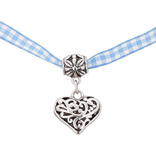 Trachtenkette Dirndl Kette Halskette in Bayerischen Farben, Stoffband 4 mm mit Metall Herz in Silber