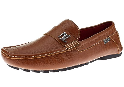 Natazzi Mens Air Grant Canoa Scarpe In Pelle Originale Slip-on Driving Tan Mocassino