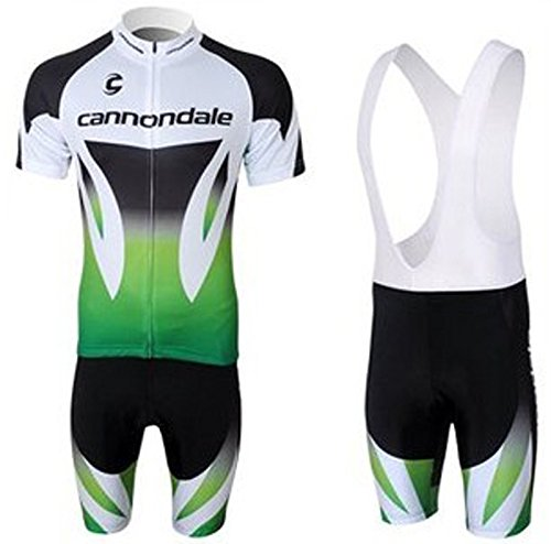 2012 Cannondale White and Green Men's Short Sleeve Bike Clothes Suit Breathable Bib Cycling Jersey Set (XXL)