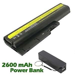 Battpit Bateria de repuesto para portátiles IBM ThinkPad R60p (4400 mah) con 2600mAh Banco de energía / batería externa (negro) para Smartphone
