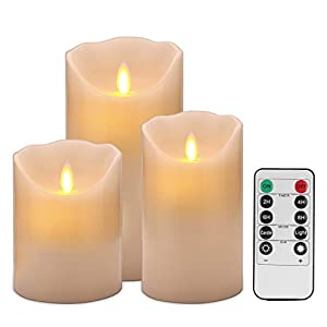 Enpornk Flameless Flickering Battery Operated Candles Ivory Real Wax Pillar LED Candles with 10-Key Remote and Cycling 24 Hours Timer 55