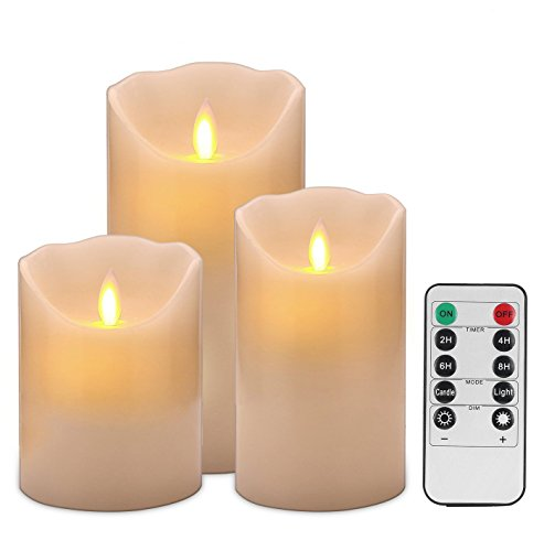 Flameless Candles 4' 5' 6' Set of 3 Ivory Dripless Real Wax Pillars Include Realistic Dancing LED Flames and 10-key Remote Control with 24-hour Timer Function