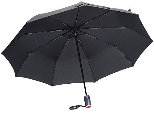 LifeTek Automatic Travel Umbrella Teflon 210T Canopy 9 Rib Wind Resistant Frame