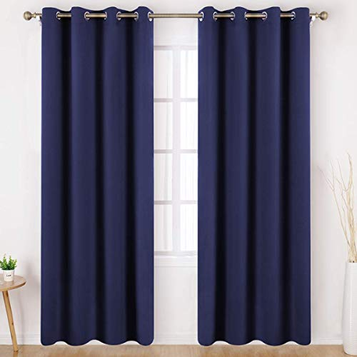 HOMEIDEAS Blackout Curtains 95 Inches Long 2 Panels Navy Blue Room Darkening Curtains/Drapes, Thermal Insulated Grommet Window Curtains for Kids Bedroom & Living Room, W52 X L95 Inches (Curtain Blue Panels Grommet)