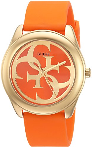 GUESS-Womens-Quartz-Stainless-Steel-and-Silicone-Casual-Watch-ColorOrange-Model-U0911L4