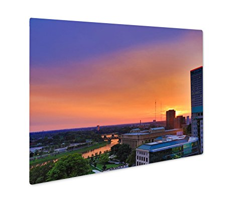 Ashley Giclee Metal Panel Print, The Scioto River Glows Orange During Sunset In Columbus Ohio, 8x10, - Columbus Sunset Ohio Times