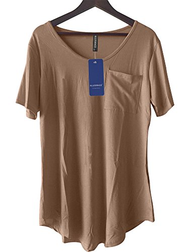 Allegrace Womens Casual Scoop Collar Plus Size T Shirts Summer Tops Tee
