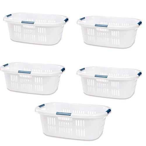 Hip Hugger Laundry Basket 1.5 White Rubbermaid Pack of 5