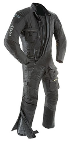 Joe Rocket Survivor Men's Waterproof 1-Piece Motorcycle Riding Suit (Black/Black, XX-Large)