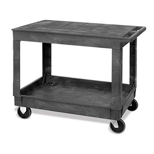 Large 2-Shelf Utility Cart with Flat Top and Lower Shelf with Raised Sides 40''L x 26''W x 32.5''H