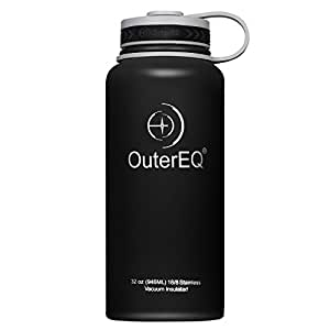 OuterEQ Insulated Stainless Steel 32 oz Water Bottle - Wide Mouth Bottles - Double Walled Vacuum (Black)