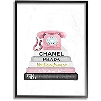 The Stupell Home Decor Grey Black Fashion Bookstack with Pink Phone Framed Giclee Texturized Art, 24 x 30, Multi-Color