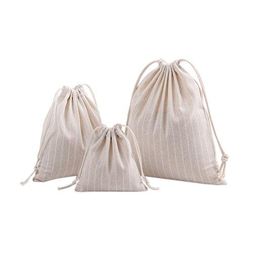 hifuarストライプドローストリングバックパックキャンバス旅行SackpackバッグジムアウトドアスポーツポータブルDaypack for Girls/Boys (パックof 3 ) free size ベージュ B07D48R73M  ベージュ