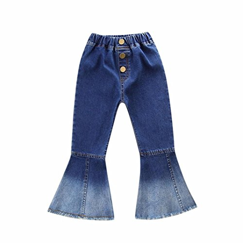 Goodtrade8 Toddler Infant Baby Girl Ruffle Wide Leg Jeans Denim Pants Outfit Clothes (4T(3-4 Years), Dark Blue)
