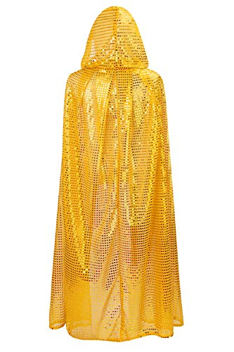 OurLore Ladies Cloaks Full Length Colored Sequins Goddess Cape Halloween Christmas Outerwear (Gold (Hooded))