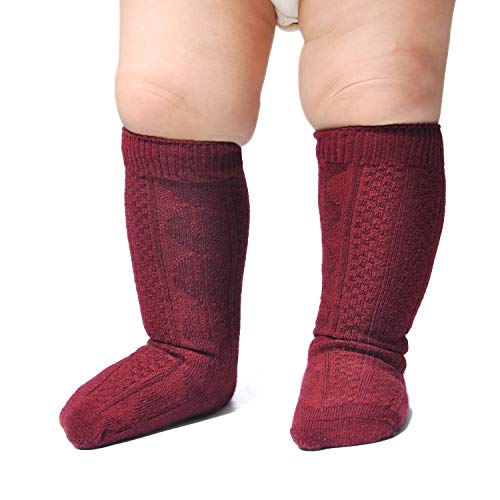 Epeius Little Girls 3 Pair Pack Seamless Cable Knit Knee High Socks Kids Boys/Girls Uniform Stockings for 4-6 Years,Granate Red]()