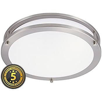 Energy efficient led dimmable ceiling light fixture brushed nickel green beam 12 inch dimmable sleek brushed nickel led ceiling mount light fixture great for aloadofball Choice Image