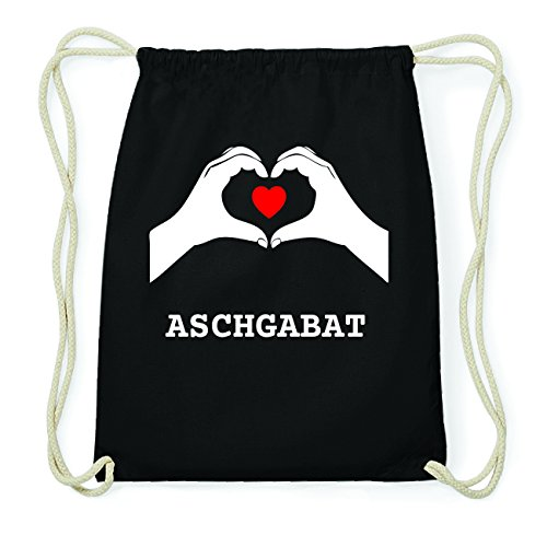 JOllify ASCHGABAT Hipster Turnbeutel Tasche Rucksack aus Baumwolle - Farbe: schwarz Design: Hände Herz