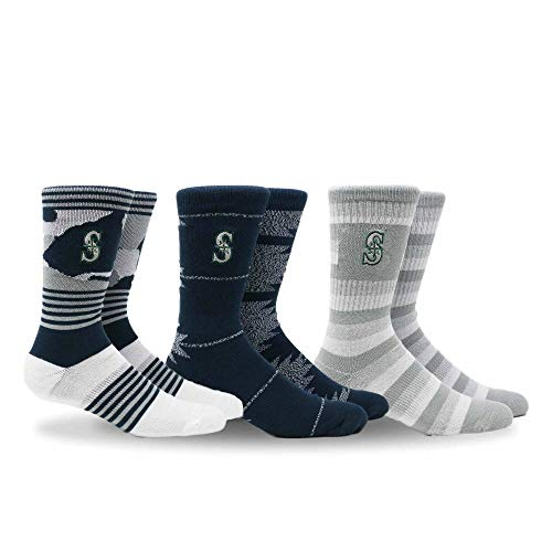 - PKWY by Stance MLB Men's Clubhouse Collection 3-Pack Socks (Large, Seattle Mariners)