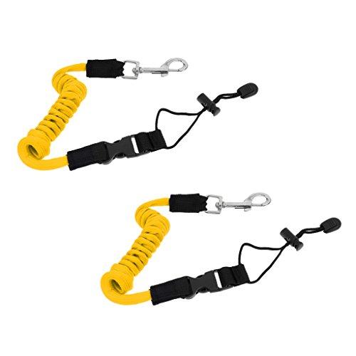 MonkeyJack (Pack of 2) Yellow Elastic 55''/140cm Kayak Canoe Paddle Leash Safety Boat Fishing Rod Pole Coiled Lanyard Cord Tie Rope