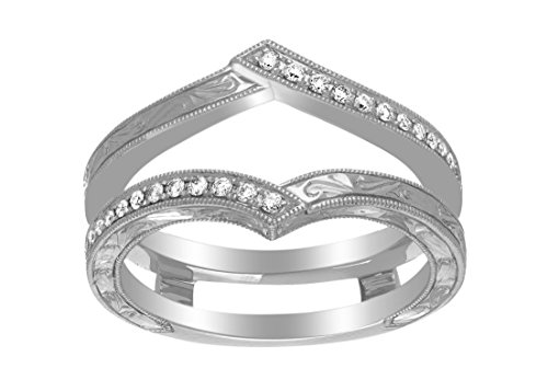 Jewel Zone US White Natural Diamond Solitaire Engagement Enhancer Guard Ring in 14k Solid White Gold (1/6 Ct)