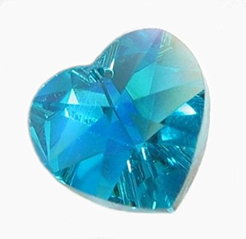 4 pcs Swarovski Xilion Crystal 6228 Heart Charm Pendant Blue Zircon Ab 10mm / Findings / Crystallized (Swarovski Crystal Heart Charm)