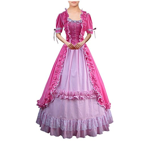 Victorian Lady Fancy Dress Costumes (Partiss Women Lace Ruffles Gothic Victorian Fancy Dress Costumes Small,Pink)