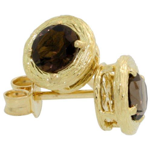 18k Gold Round Stud Earrings, w/ 1.00 Carat Brilliant Cut...