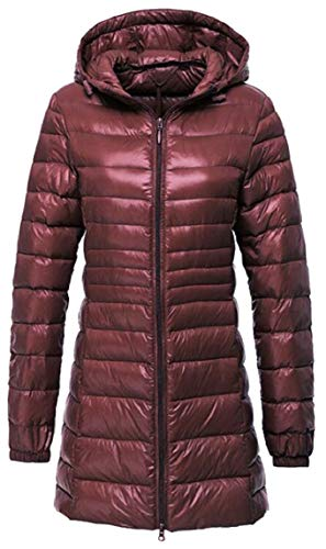 Wine Red Lightweight security Jacket Down Coat Hooded Puffer Women's Long RWnqf87W