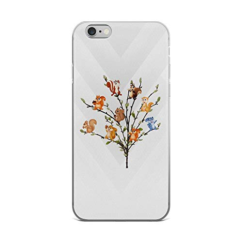 iPhone 6 Plus/6s Plus Pure Clear Case Cases Cover Squirrels on The Tree Cartoon Cute Animals TPU Anti Bumps Scratches Solid