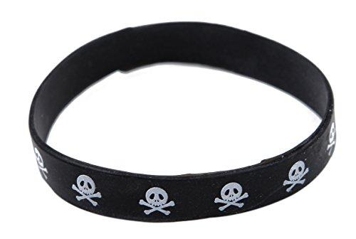 Skull & Crossbones - Black Silicone -